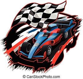 f1, da corsa, disegno, accelerare, automobile