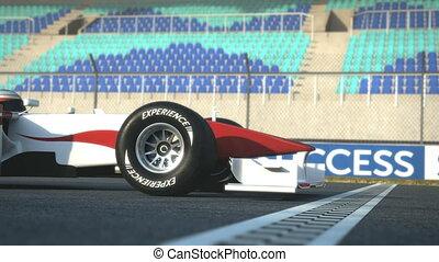 f1, de auto van het ras, kruising, beëindiig lijn