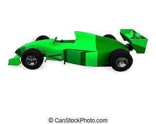 f1, groene auto, vol, 2