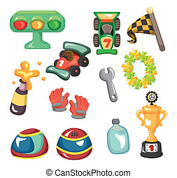 f1, jogo, corrida carro, caricatura, ícone