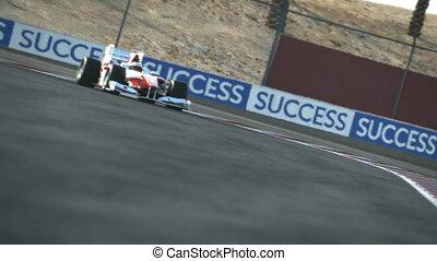 f1, macchina corsa, su, deserto, circuito