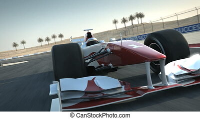 Formula One race car on desert circuit - close-up front - high quality 3d animation - visit our portfolio for more