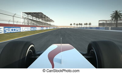 Formula One race car on desert circuit - driver's POV - high quality 3d animation - visit our portfolio for more