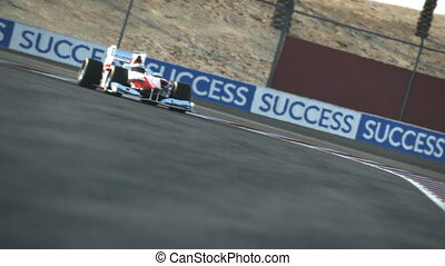 Formula One race car on desert circuit - finish line - high quality 3d animation - visit our portfolio for more