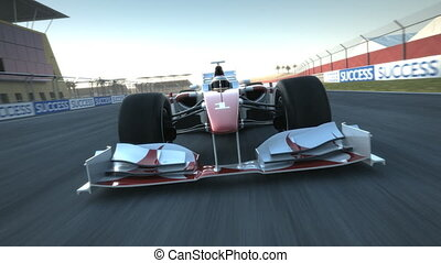 F1 racecar speeding past camera - Formula One race car...