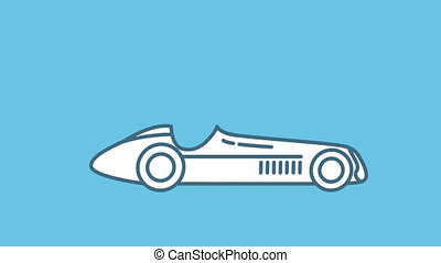F1 racing car 1950s line icon is one of the Cars and Vehicles icon set. File contains alpha channel. From 2 to 6 seconds - loop.