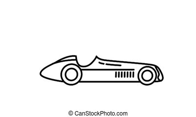 F1 racing car 1950s line icon on the Alpha Channel