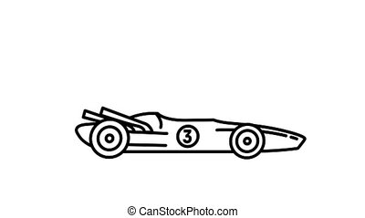 F1 racing car 1970s line icon on the Alpha Channel