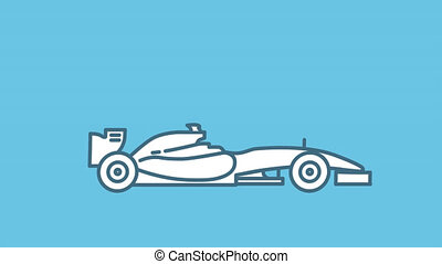 F1 racing car line icon on the Alpha Channel
