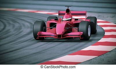 f1, rotes , bolide, in, langsam, motion.