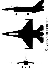 F16 - Silhouette of jet-fighter