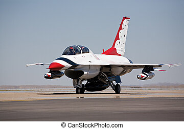 F16 taxi for takeoff - F16 military aircraft in thunderbirds...