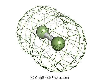 (f2), molekular, elementar, fluorine, model.