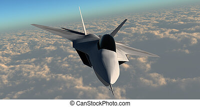 F22 Fighter Jet - An F-22 fighter jet flies at an altitude...