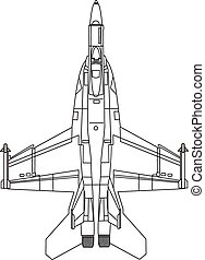 F22 Fighter Jet - top view of fighter jet, line drawing ,...