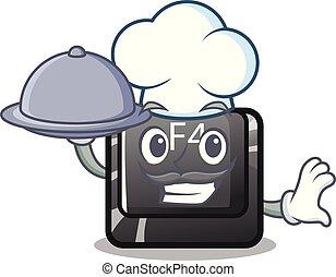 f4, alimento, botón, chef, forma, caricatura