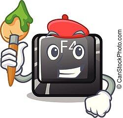 f4, artista, botón, installed, teclado, caricatura