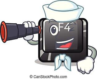 f4, binocular, marinero, caricatura, forma, botón