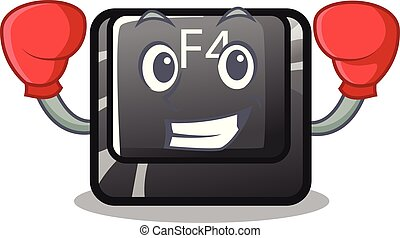 f4, botón, boxeo, installed, teclado, caricatura