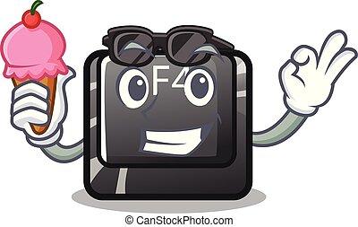 f4, botón, carácter, aislado, helado