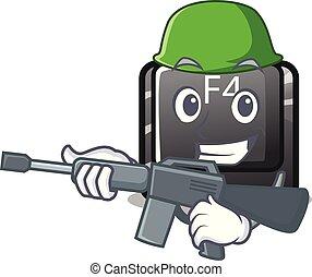 f4, botón del ejército, installed, teclado, caricatura