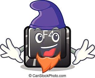 f4, botón, duende, installed, teclado, caricatura