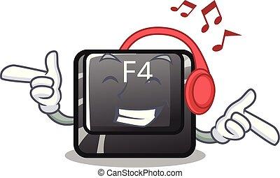 f4, botón, forma, la música escuchar, caricatura