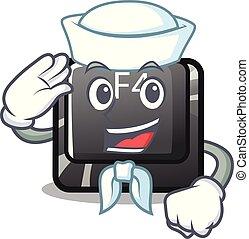 f4, botón, installed, marinero, teclado, caricatura
