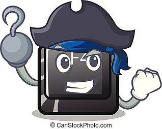 f4, botón, installed, teclado, caricatura, pirata