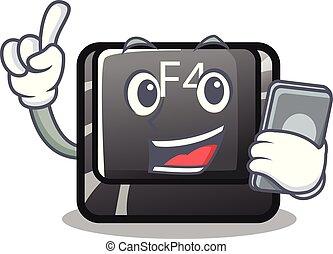 f4, botón, installed, teléfono, teclado, caricatura