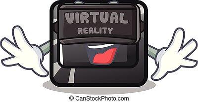 f4, botón, realidad virtual, forma, caricatura
