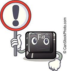f4, botón, señal, teclado, installed, caricatura