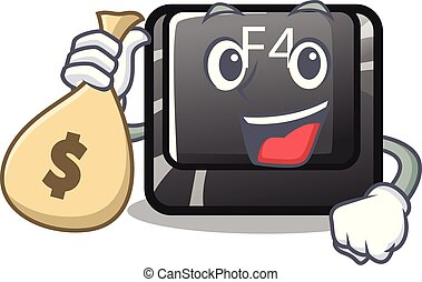f4, dinero, botón, installed, bolsa, teclado, caricatura