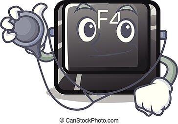 f4, doctor, botón, installed, teclado, caricatura