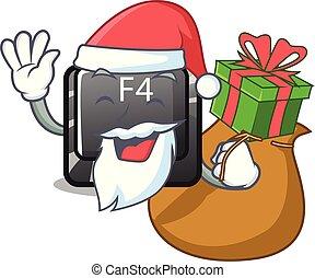 f4, regalo, botón, computadora, santa, mascota