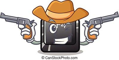 f4, vaquero, botón, installed, teclado, caricatura