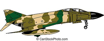 F4H Fighter Jet - Vietnam era fighter jet in camo coloring,...