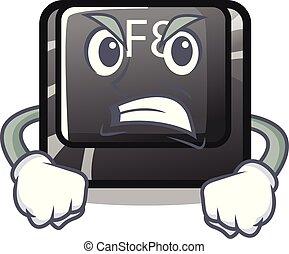 f8, fâché, installed, informatique, bouton, mascotte