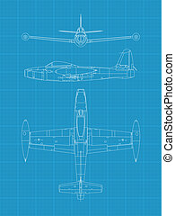 F84 Thunderjet - High detailed vector illustration of old...