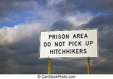 faça, cima, pico, -, hitchhikers, área, prisão