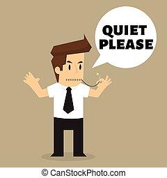 faça, fazer, favor, quieto, barulho, homem negócios