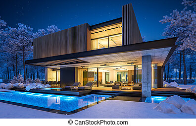 façade, 3d, planche, nuit, rendre, bois, hiver, maison, moderne