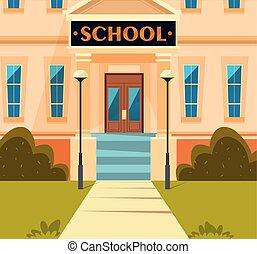 façade, bâtiment, école, structure