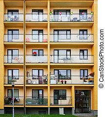 façade bâtiment, appartement, nouveau