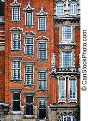 façade bâtiment, brique, historique, londres