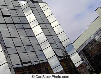 façade, bâtiment, bureau