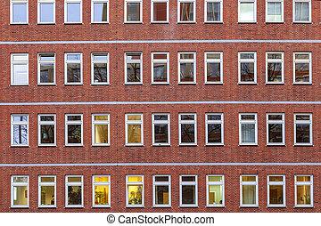 façade bâtiment, bureau, nuit