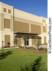 façade bâtiment, commercial, nouveau, devant