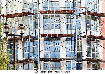 façade bâtiment, construction, échafaudage, sous