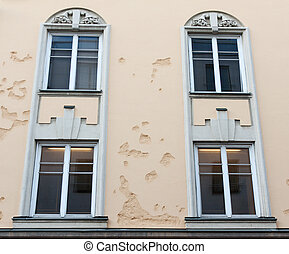 façade, bâtiment, fenêtre, jalousie